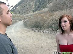 Busty red head newbie Mary Jane Mayhem pumped hard as she gets enticed by this naughty Latino. He offers her some cash and his throbbing cock and he's definitely enjoying her.