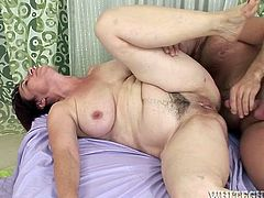 Incredibly ugly old fat sex pot rests in bed and gets her thirsting pervert pussy turbulently drilled in mish and spoon styles mostly. Then this old chick managed to give this brave man deep throat blowjob. Watch this old smelly pussy fuck in Fame Digital porn video!