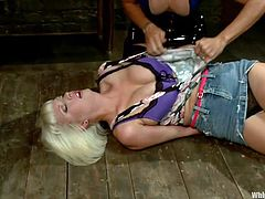 Mistress Felony has her ways with sweet blonde such as Cherry. She always takes her time and does the job right! This turn Felony chained Cherry's toes, pinched her nipples and slapped her ass really hard as a start up. She knows what she want to make out of this blonde cunt, a submissive lesbian sex slave