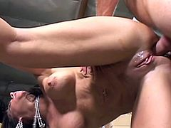 Curvaceous brunette MILF gets face fucked in an office. Later on she gets her pussy fingered and ass fucked rough.