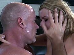 An older bald guy gets a cute blonde and plays with, and spanks her nice ass and fingers her on the couch. Then they down on the floor he starts banging her shave snatch. Then she blows him and her jerks off in her mouth.