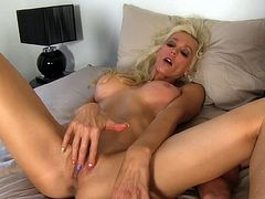 Busty blonde milf rides on cock and enjoys its warm load in the end