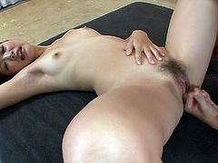 This sex-starved slut from Japan is a real pro when it comes to pleasing men. From the way she's sucking on his meat stick you can tell that she's really into him.