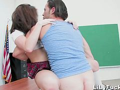 Brunette schoolgirl was naughty in class so she had to stay after class and get fucked by another student,Watch how this handsome stud fucks Lilly Carter's tight cunt.