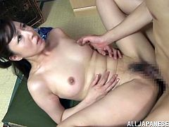She's a brunette Nippon woman with a strong will in satisfying men. This slut will do anything for her guy in order for him to be happy with her. After he finished fingering her pussy and sucking on her nipples, the brunette goes down on his cock and sucks it hard. After that she rides him and enjoys every inch he has