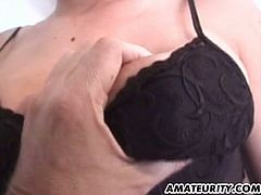 Amateurity brings you a hell of a free porn video where you can see how a hot brunette in stockings gets banged very hard into kingdom come while assuming very hot poses.