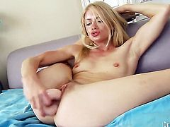 Bella Bends does striptease before masturbating anally with passion