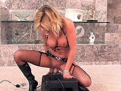 Alluring blonde feels amazing by sucking and riding her new toy cock