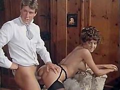 Prepare yourself for a raunchy orgy scene! Kinky bitches in stockings get fucked in sideways pose and ride big dicks in reverse cowgirl pose. Whores get facials after fucking doggystyle and pleasing their hairy twats in scissors pose.