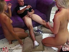 Three sex addicted girls show off their nude bodies. Then they start to suck dicks and lick balls. In the end of the day they get facialed.