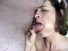 Have a good time watching this mature lady, with born breasts wearing a pink miniskirt, while she takes her clothes off and sucks a dude's shaft!