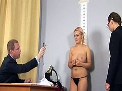 Humiliating undressed job interview for Big-Titted blonde secretary