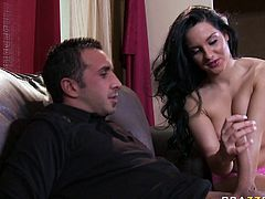 All natural black haired babe Bettina DiCapri cheers up her lover Keiran by amazing blowjob. Check out Bettina sucking that 9 incher with all the passion she has!