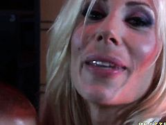 Puma Swede with huge melons is totally naked and plays with her pussy non-stop