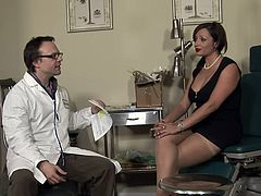 Mature lady Vannah is at her doc for a pussy exam. She takes a sit on the gynecologist table, spreads her superb thighs and gets her pussy checked out. This fucking whore has a itch between her legs and the doc knows the perfect treatment for that, his cock in her mouth. Look at her lips sliding on his penis!