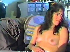 Her nasty man convinced her to film them while she is ridding his cock. She fucked him in cowgirl pose until he cums all over her body.