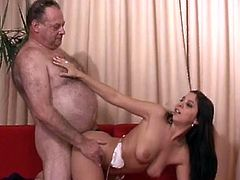 Young brunette receives a great fuck session from her horny step dad