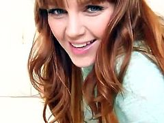 Sexy redheaded babe Marie McCray is one her own in this video. Instead of taking her clothes off she just starts teasing you and makes you want to fuck her snatch.