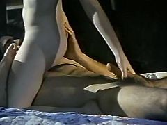 Luscious beauty with pale skin, big tits and beautiful face gives amazing titjob and rides her mate's big dick like a cowgirl exposing her dirty asshole and her sweaty hairy pussy.