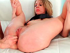 Desirable blonde lesbie Kelly Trump goes wold fist fucking her busty curvy black haired girlfriend's tight asshole. Then one horny dude treats Kelly with hardcore anal fisting.