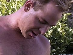 This guy likes the simple life! All he needs is a slutty blonde and a sunny day. Here he is in an open space, enjoying himself in the small piscine when the blonde got in and started to play with his cock. She sucked his cock and played with her wet boobs. Is she gonna get them jizzed?