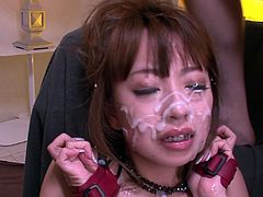 Leg spread good looking Japanese hootchie gets her hairy kitty turbulently pounded by fingers and dildo. Then bunch of freaky dudes pour her face with galore of sperm. Watch this cruel fuck in Jav HD porn clip!