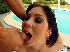 Take a look at this hardcore scene where this slutty blonde swallows a big load outdoors after taking this guy's big cock up her ass outdoors.