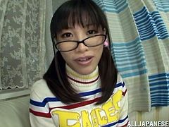 Beautiful Japanese chick with glasses spits out cum