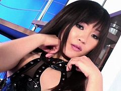 Beautiful Maya Mai amazes with her superb hairy twat during top solo
