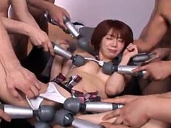 This insatiable nympho gets fucked by several boners and gets huge load of cum of her face. Enjoy watching this Japanese gangbang.