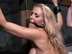 Well, this hot blonde is tied on a wooden structure and the brunette licks her pussy right there in front of the students. The blonde has her mouth gagged and she moans with pleasure as the students silently admire her. Soon the brunette asks their help and all those horny chicks leave art for the real deal!