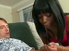 Insolent ebony amazes with her soft hands in a magical handjob porn session