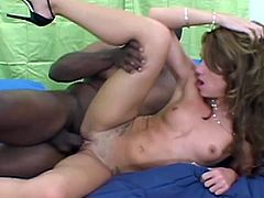 Slim brown-haired cutie Heather is getting naughty with some black dude indoors. She drives him crazy with a terrific blowjob and then they bang in side-by-side position.