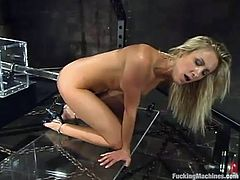 This desirable and slender siren Angel Long loves to be penetrated by a fucking machine and she is going to get it today! Babe is so hot in this scene!