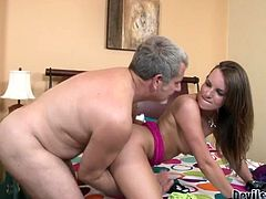Nasty brunette hooker is having dirty sex with step daddy. She just loves older men with experience. So she stands on her all four serving her coochie from behind. She gets banged hard doggy style.