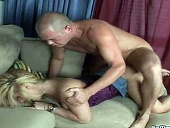 Prepare your cock for this clothed sex between a blonde babe and a bald dude. Lillian gets blasted doggystyle after she rides like a fucking cowgirl!