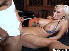 Hot blonde office girl in glasses rides big black cock