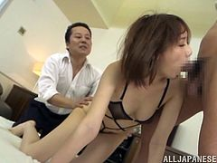 This sizzling and horny Japanese siren gets naked with the entire office! All are men and this is gonna be a gangbang in the office!