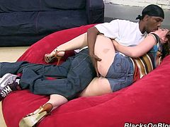 She is chatting with that black dude and bring him to his house to get his huge hard dong in her narrow asshole. Enjoy watching this interracial sex.