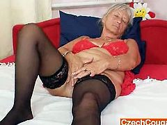 Unlovely and unlovely grannie in addition to some missing teeths spreads her woolly old pussy then toys herself oma nasty hirsute twat fake penis action.Enjoy this solo with her!