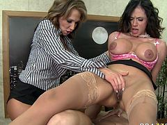 Lascivious mommies with big boobs have insatiable sex hunger. Ariella is riding hard dong on top upskirt. Two feisty MILF gives double blowjob later on.