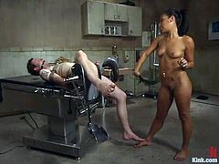 Elliot Skellington is playing dirty games with pretty doctor Jasmine Byrne. He lets the hottie tie him up and then gets whipped and fucked hard with a strapon.