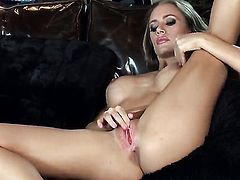 Nicole Aniston with giant jugs and bald snatch is ready to pose naked and masturbate all day long
