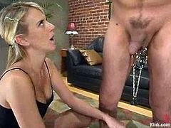Dominant blonde Audrey Leigh is having fun with a guy called Maximus. She binds the stud and plays with his dick and balls and then whips his butt fiercely.