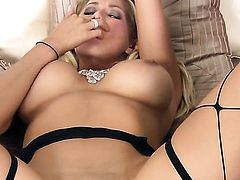 Blake Rose with giant knockers and smooth bush spends time stroking her cunt