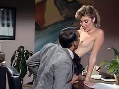 Filthy housemaid shows her boss off her shapely body in corset and stockings. Master gets horny and joyfully sucks that bitch's tight natural tits.