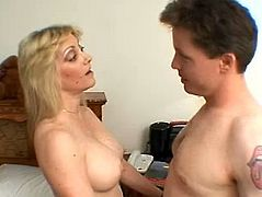 This delicious mature blonde with big juggs needs hardcore action and she called electrician to fix her devastated beaver. When dude came to her house she was all naked