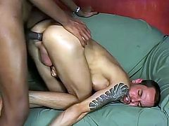 Black tranny Yasmin Duran allows a white guy to suck and ride her cock