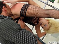 This slutty fuckin' bitch right here sucks on a hard dick and then gets her fuckin' ass stuffed and creampied, check it out right here!