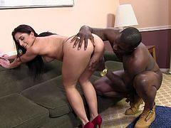She knows that he has huge black cock and she must get it. She seduces him to fuck her asshole hard and give him deepthroat blowjob.